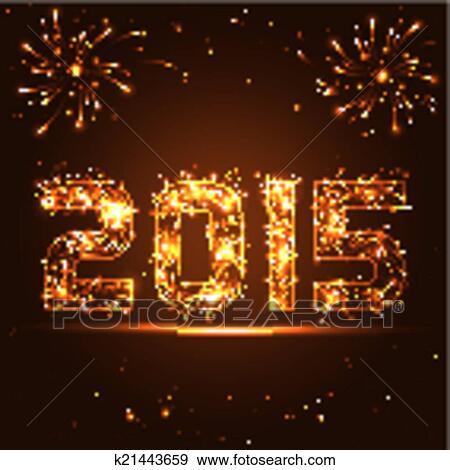 Clip Art Feliz Ano Nuevo 2015 Dorado Fuegos Artificiales