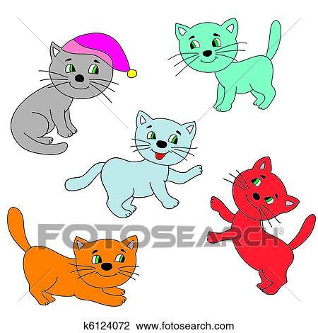 Imagem De Coloridos Gatos Desenho K6124072 Fotosearch