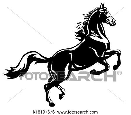 Clipart levage cheval noir blanc k18197676 recherchez des cliparts des illustrations - Clipart cheval ...