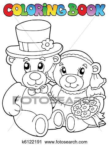 Clipart - libro colorear, con, boda, osos k6122191 - Buscar Clip Art ...