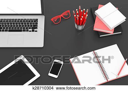 dessins ordinateur portable et bureau remplir lieu travail vue dessus k28710304. Black Bedroom Furniture Sets. Home Design Ideas