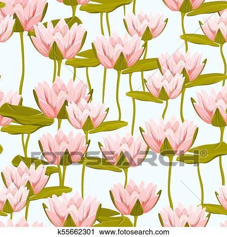 Pink Water Lily Lotus Flowers Seamless Pattern Clipart K55662301