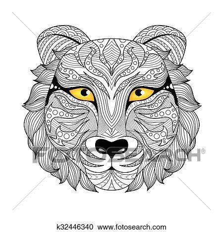 Clipart Of Tiger Coloring Page K32446340