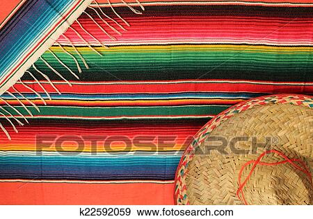 Stock Photograph Of Traditional Mexican Fiesta Poncho Rug In Bright