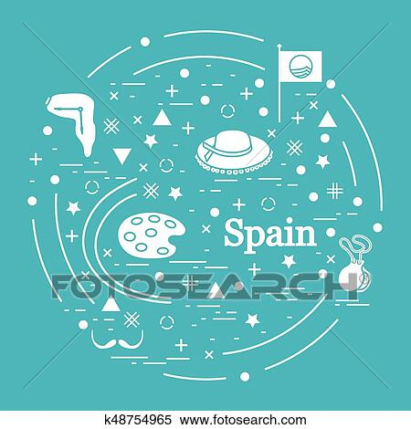 Clipart Of Vector Illustration With Various Symbols Of Spain