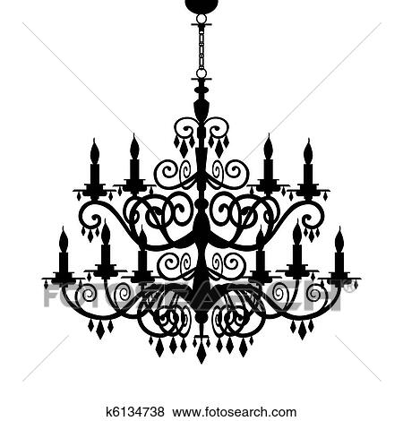 Clip Art Of Baroque Chandelier Silhouette K6134738