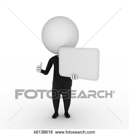 stock illustration of business guy with a blank sign k6138618