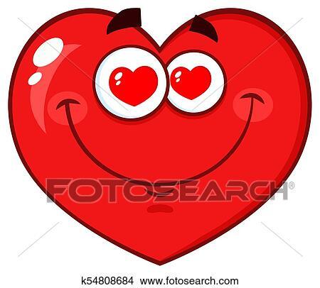 Clipart cuore rosso cartone animato emoji faccia for Clipart cuore