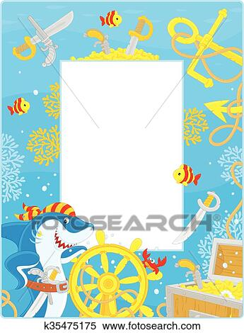 Clipart of Frame with a pirate shark k35475175 - Search Clip Art ...