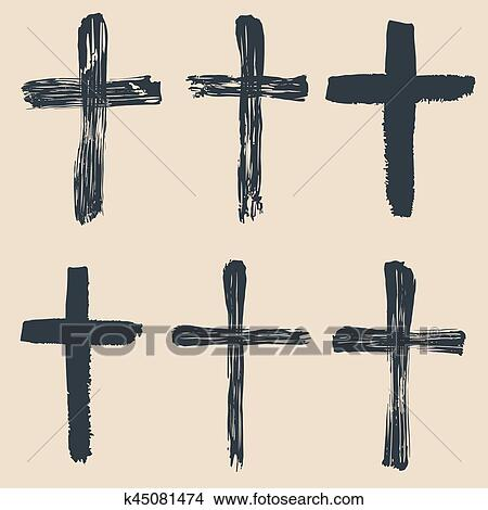 Clipart Of Grunge Religious Baptism Christian Crosses Crucifix