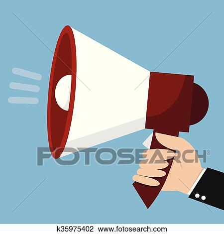 hand holding megaphone loudspeaker icon flat design vector illustration clipart k35975402 fotosearch fotosearch