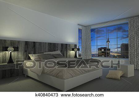 Tekening - hippe, slaapkamer, -, hotelkamer k40840473 - Zoek Clipart ...