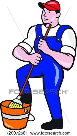 clipart of janitor cleaner holding mop bucket cartoon k20072581 rh fotosearch com janitor clipart janitorial clip art images