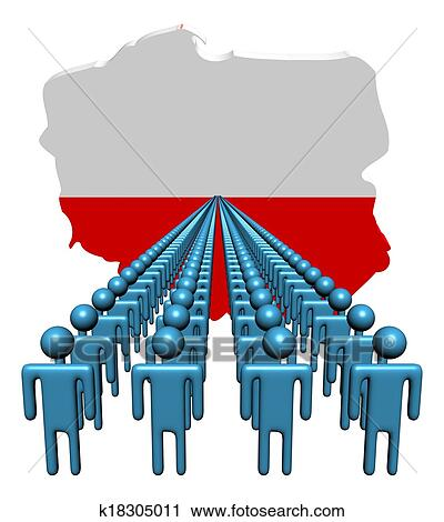 Clipart of Lines of people with Poland map flag illustration ...