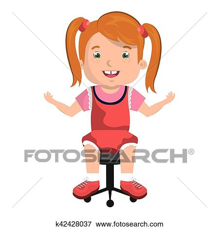 Fine Little Child Sitting On Office Chair Clip Art K42428037 Gmtry Best Dining Table And Chair Ideas Images Gmtryco