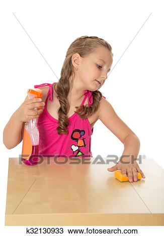 Little Girl with Vacuum Cleaner Clipart   k14570364   Fotosearch