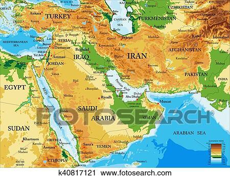 Medio Oriente Cartina Fisica.Mezzo East Physical Mappa Clip Art K40817121 Fotosearch