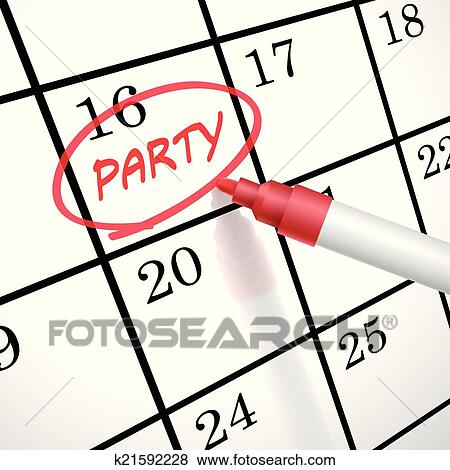 Clip Art Of Party Word Circle Marked On A Calendar K21592228