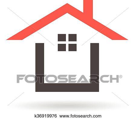 Charming Clip Art   Rot, Dach, Haus, Logo., Vektorgrafik, Design