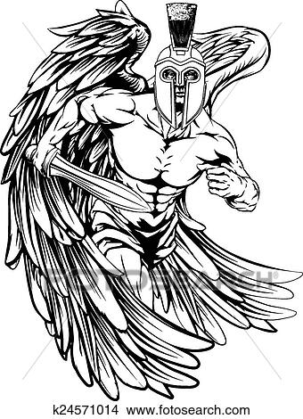 Clipart Of Spartan Helmet Angel K24571014 Search Clip Art