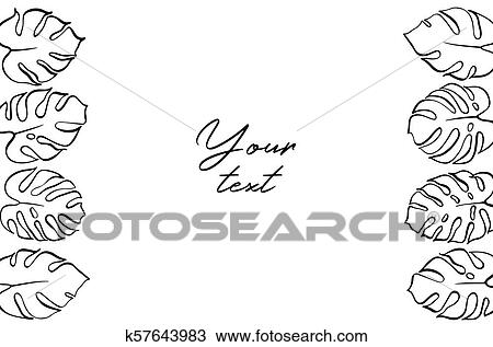 Vector Template Illustration With Monstera Leaf Clipart K57643983 Fotosearch Continuous line drawings tropical leaves vector. fotosearch