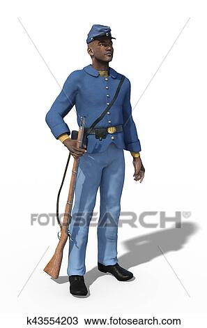 drawing of african american civil war union soldier standing
