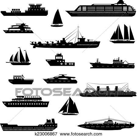 Clipart Bateaux Et Bateaux Ensemble Noir Blanc K23006867