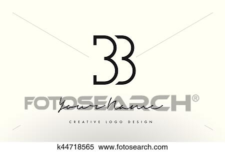 Clipart Of BB Letters Logo Design Slim Creative Simple Black Letter