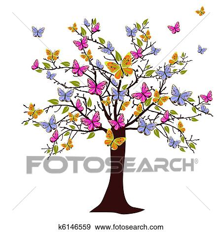 Clip Art Of Butterfly Tree K6146559 Search Clipart