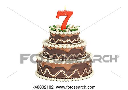 Chocolate Birthday Cake With Candle Number 7 3D Rendering Isolated On White Background