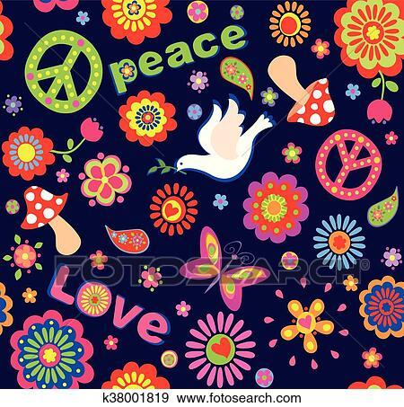 Fiori Hippie.Infantile Carta Da Parati Con Colorito Estratto Fiori Hippie