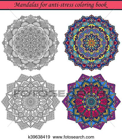 Clip Art - mandalas, para, anti-stress, libro colorear, 3 k39638419 ...