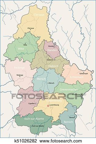 Clipart of Map of Luxembourg k51026282 - Search Clip Art ...