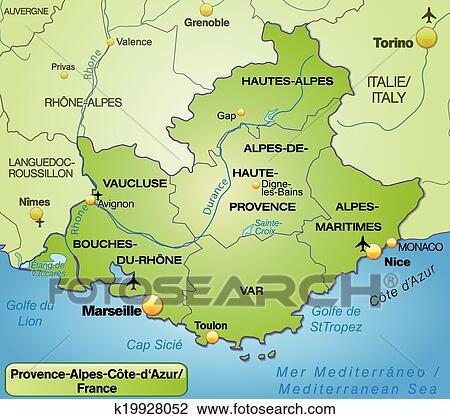 Clipart of Map of Provence-Alpes-Cote d Azur k19928052 - Search Clip ...