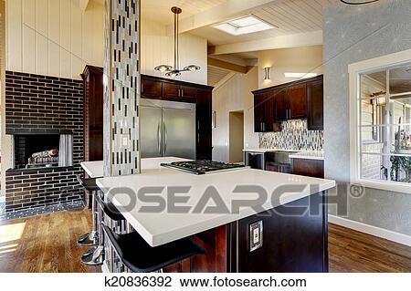 Moderno, cucina, stanza, interno, con, caminetto Archivio Immagini ...