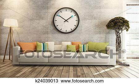 Disegno soggiorno con grande orologio su parete concreta 3d