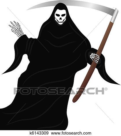 Clip Art Of The Grim Reaper K6143309 Search Clipart Illustration