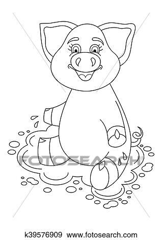 Clip Art - vector, ilustración, de, lindo, cerdo, en, agua, charco ...