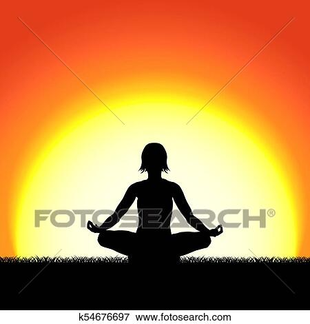 Yoga Lotus Pose Black Silhouette On Sunset Background Woman Character Meditating In Nature During Sunrise Dawn Clip Art K54676697 Fotosearch