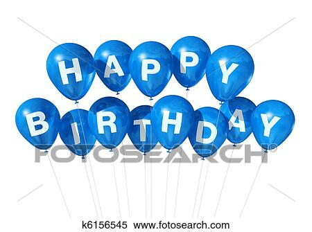 3D Blue Happy Birthday Balloons Isolated On White Background