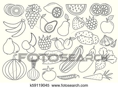 Coloring Book (page). Fruits, Berries And Vegetables Cartoon, Icon. Set.  Vector Illustration Clipart K59119045 Fotosearch
