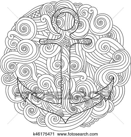 Coloring page with anchor in wave mandala. Zentangle inspired doodle style. Clipart