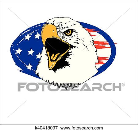 Graphic Eagle Head And Abstract Flag Great Patriotic In Your Face Design