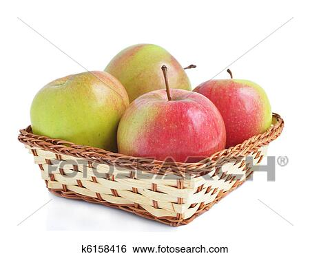 stock images of four apples in the basket k6158416 search stock