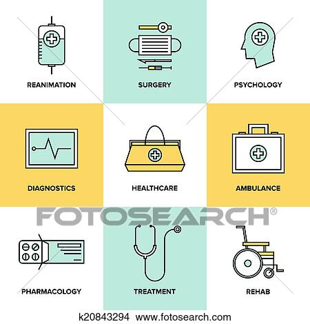 Clipart Of Healthcare And Medicine Flat Icons Set K20843294 Search