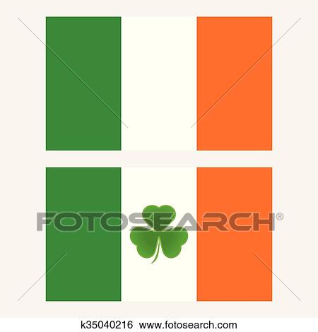 Ireland Flag With Shamrock Leaf Isolated Background Clip Art