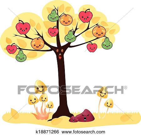 clip art of kawaii tree k18871266 search clipart illustration rh fotosearch com kawaii clipart fruit kawaii clip art school