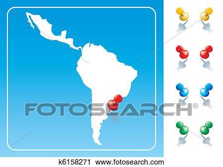 Clipart Of Latin America Map Illustration K6158271 Search Clip Art