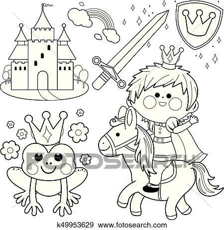 Clip Art - príncipe, equitación, un, caballo, cuento de hadas, set ...