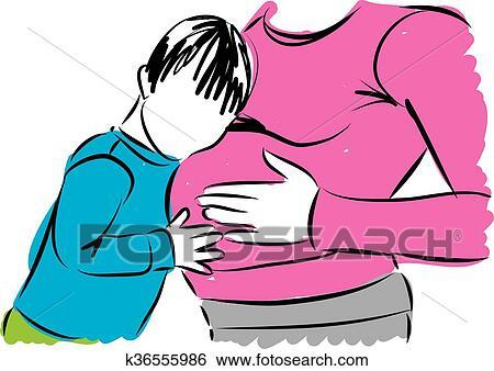clip art of pregnant mom with big son illustrat k36555986 search rh fotosearch com